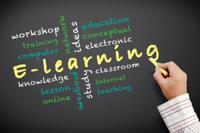 chalkboard with e-learning